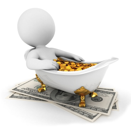 3d white people takes a money bath, isolated white background, 3d image