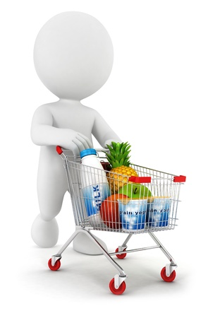 shopping trolleys: 3d white people with a shopping cart, isolated white background, 3d image