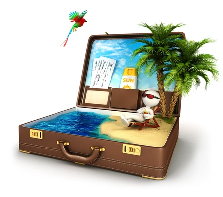 3d white people in a suitcase paradise, isolated white background, 3d image