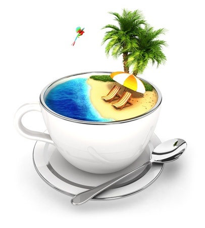 holidays vacancy: 3d cup of paradise, isolated white background, 3d image Stock Photo