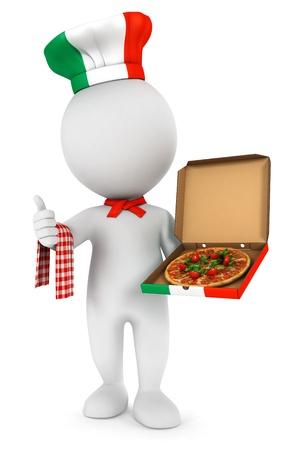 cocinero italiano: 3d gente blanca cocinero italiano pizza, aislado fondo blanco, imagen 3d