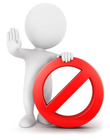 3d witte mensen met verboden teken, geà ¯ soleerde witte achtergrond, 3d beeld
