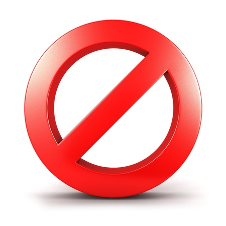 shut: 3d forbidden sign, isolated white background, 3d image