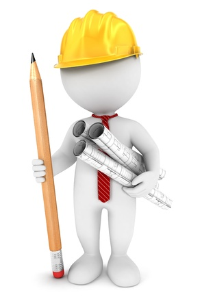 3d white people architect, isolated white background, 3d image Banque d'images