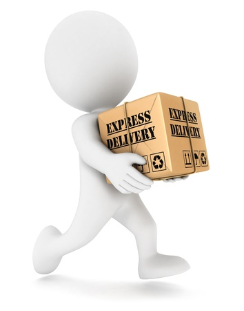 3d white people express delivery, isolated white background, 3d image photo