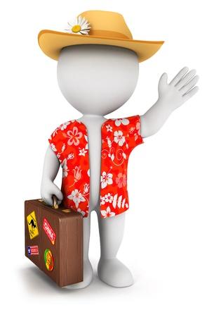maletas de viaje: 3d gente blanca se va de vacaciones, fondo blanco aislado, imagen 3d