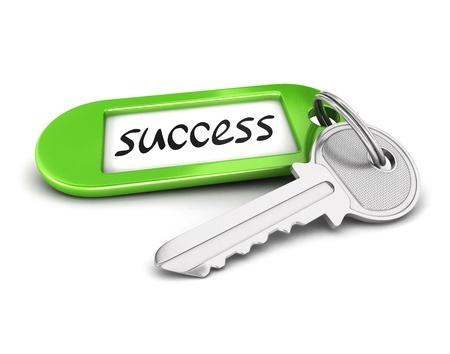 3d sleutel tot succes, geïsoleerde witte achtergrond, 3d beeld Stockfoto