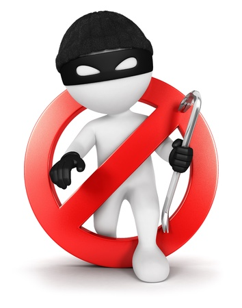 robbery: 3d white people no thief, isolated white background, 3d image