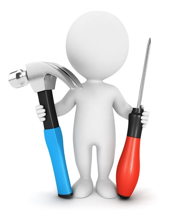 3d white people with tools, isolated white background, 3d image photo