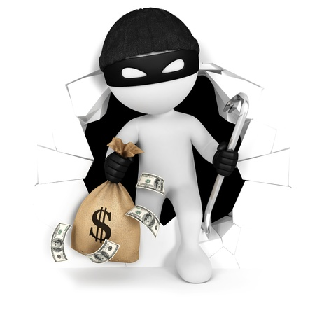 3d white people thief with money, isolated white background, 3d image photo