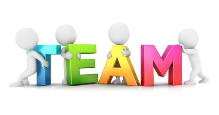 3d white people team, isolated white background, 3d image 写真素材