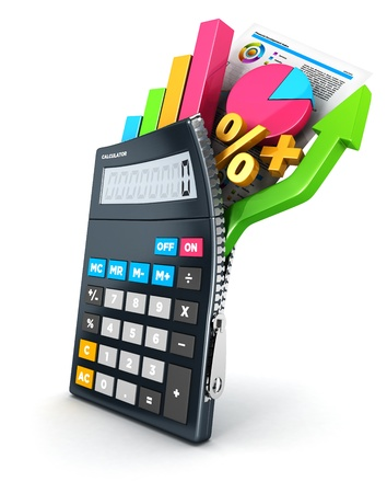 3d open calculator, isolated white background, 3d image 写真素材