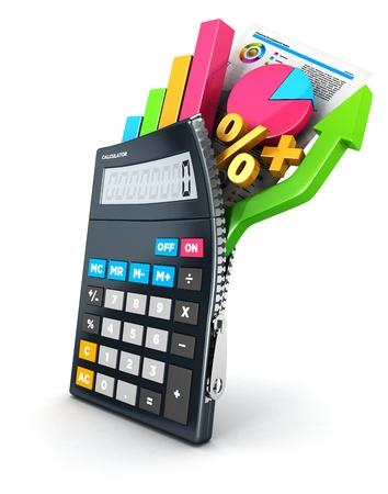 3d geopend rekenmachine, witte achtergrond, 3d beeld Stockfoto