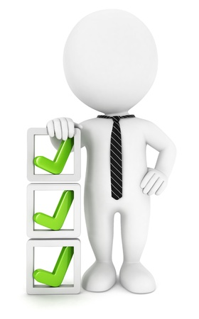 3d white people checklist, isolated white background, 3d image