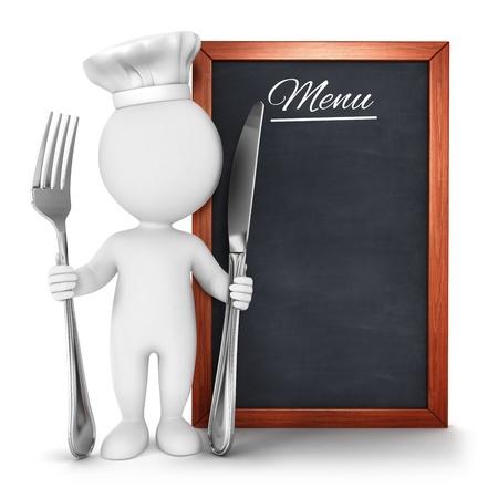 3d witte mensen chef-kok met menu, geïsoleerde witte achtergrond, 3d beeld