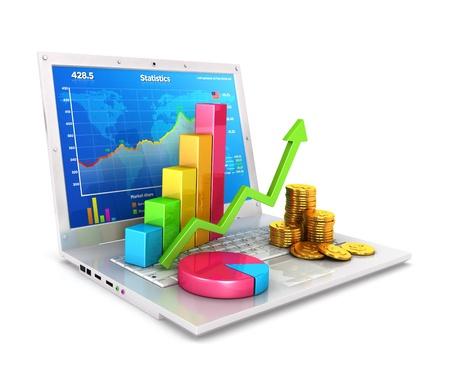3d statistieken op de laptop, geà ¯ soleerde witte achtergrond, 3d beeld Stockfoto