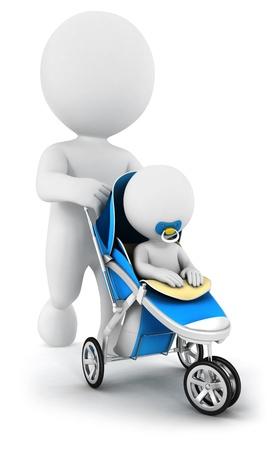 3d blanke mensen duwen van een baby in een kinderwagen, geïsoleerde witte achtergrond, 3d beeld Stockfoto