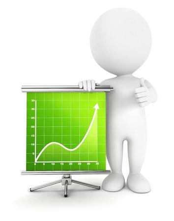 3d witte mensen succes diagram, geïsoleerde witte achtergrond, 3d beeld Stockfoto