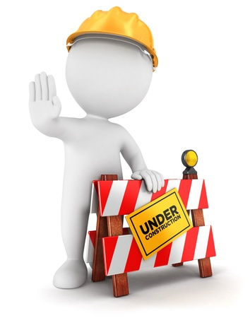 3d white people under construction, isolated white background, 3d image photo