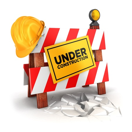 3d under construction, isolated white background, 3d image photo
