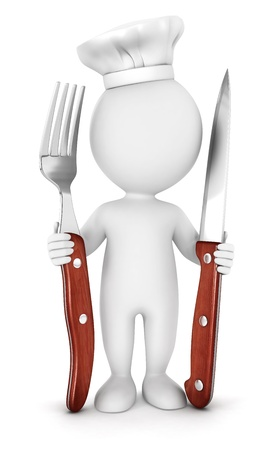 little chef: 3d white people chef with fork and knife, isolated white background, 3d image