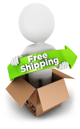 3d white people free shipping, isolated white background, 3d image photo