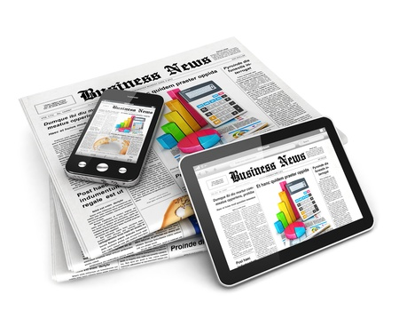 business news: 3d business news, isolated white background, 3d image Stock Photo