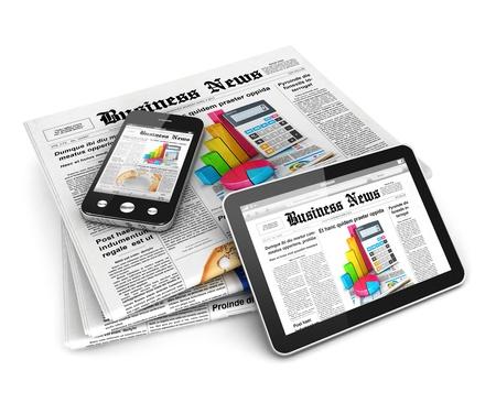3d zakelijk nieuws, geïsoleerde witte achtergrond, 3d beeld Stockfoto