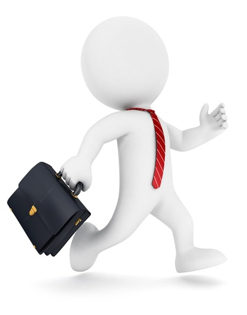 3d white people businessman running, isolated white background, 3d image Banque d'images