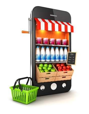 web shop: 3d supermarket smartphone, isolated white background, 3d image