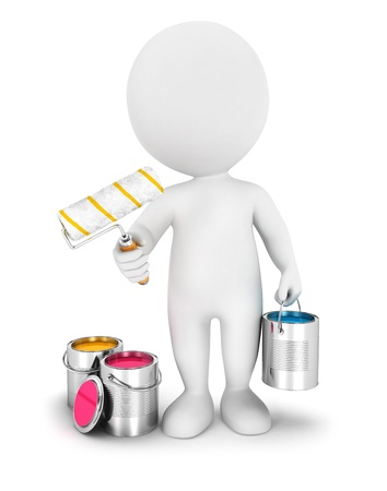 renovating: 3d white people with paint roller, isolated white background, 3d image Stock Photo