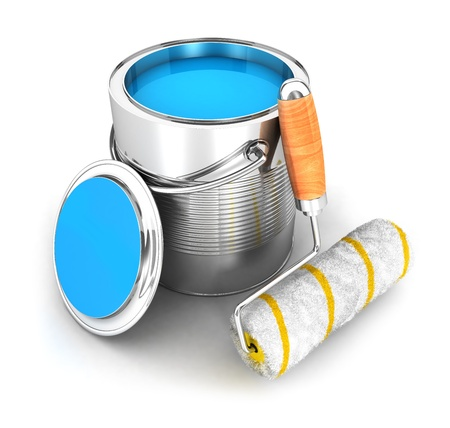 3d paint can and a roller brush, isolated white background, 3d image photo