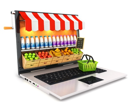 web shop: 3d supermarket laptop, isolated white background, 3d image Stock Photo
