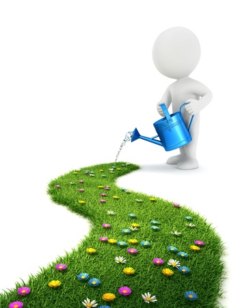 3d white people is watering a grass path, isolated white background, 3d image