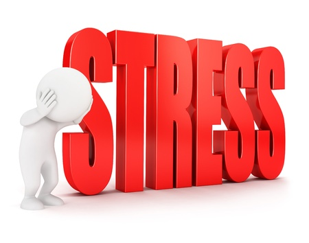 3d white people stress, isolated white background, 3d image photo