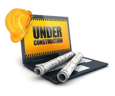 3d laptop under construction, isolated white background, 3d image