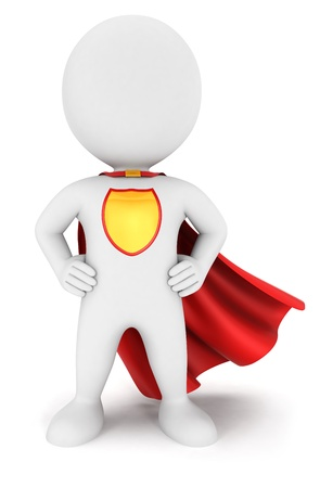 3d witte mensen superheld terugkeer, geïsoleerde witte achtergrond, 3d beeld