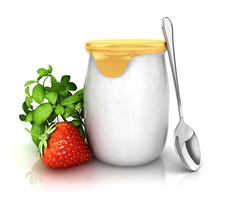 3d yoghurt met een aardbei, witte achtergrond, 3d beeld
