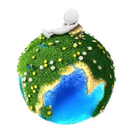 planeta verde: 3d gente blanca relajados en la tierra verde, fondo blanco, imagen 3d