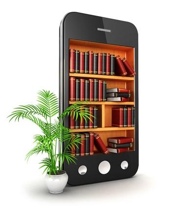 3d bibliotheek smartphone, witte achtergrond, 3d beeld