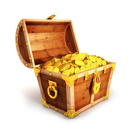 treasure: 3d golden treasure chest isolated white background