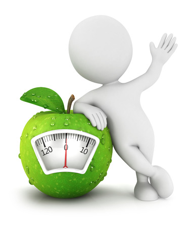 nutritionist: 3d white people apple scale concept, isolated white background, 3d image Stock Photo