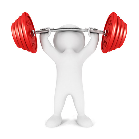 weightlifting equipment: 3d white people weightlifting, isolated white background, 3d image Stock Photo