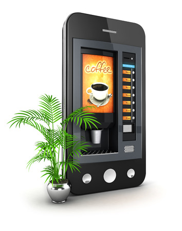3d coffee machine smartphone, isolated white background, 3d image photo