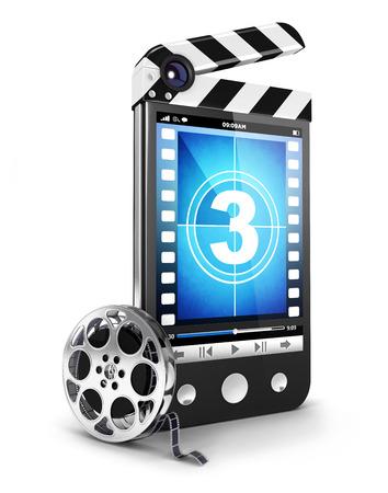 3d video smartphone-concept, witte achtergrond, 3d beeld Stockfoto