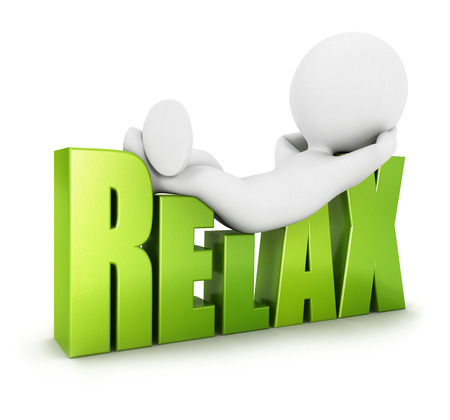 3d white people relax, isolated white background, 3d image photo