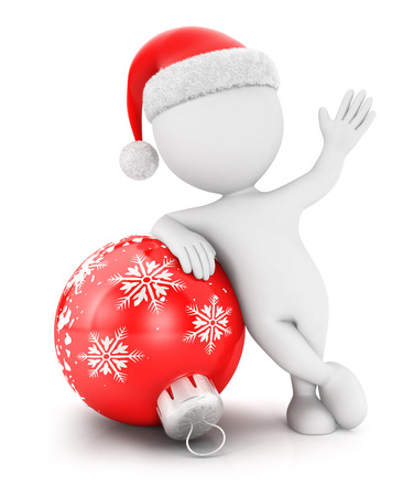 3d white people with a christmas bauble, isolated white background, 3d image Stock Photo