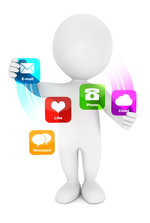 3d white people applications interface, isolated white background, 3d image