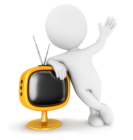 3d white people retro television, isolated white background, 3d image
