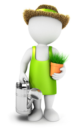 jardinero: 3d gente blanca jardinero con una regadera, fondo blanco, imagen 3d